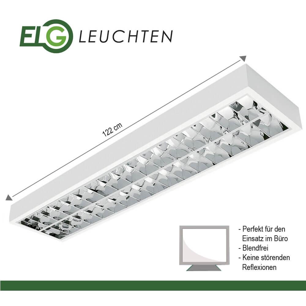 LED Rasteranbauleuchte inkl 2x16W LED 4000K 2x1700lm Büroleuchte 1,20m BAP